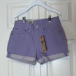NWT Levi's 501 Cuffed Colored Denim Shorts Lilac